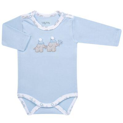 Imagem 4 do produto Conjunto Pagão Elefantinho: Casaquinho + Body longo + Calça - Tilly Baby - TB170221.01 KIT BODY CALCA E CASACO ELEFANTINHOS AZUL BEBE-RN