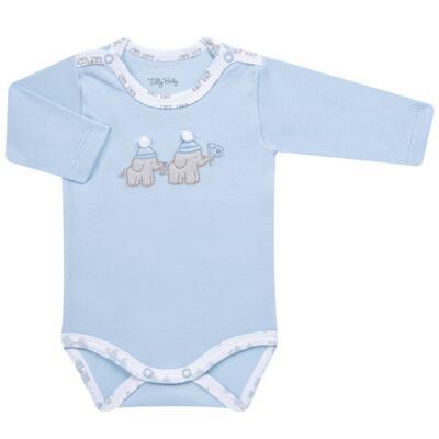 Imagem 4 do produto Conjunto Pagão Elefantinho: Casaquinho + Body longo + Calça - Tilly Baby - TB170221.01 KIT BODY CALCA E CASACO ELEFANTINHOS AZUL BEBE-M