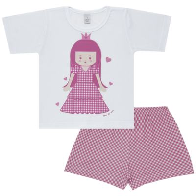 Imagem 1 do produto Pijama curto com Shorts em malha Princesinha - Cara de Sono - U1997 PRINCESINHA U PIJAMA-CURTO M/MALHA -1