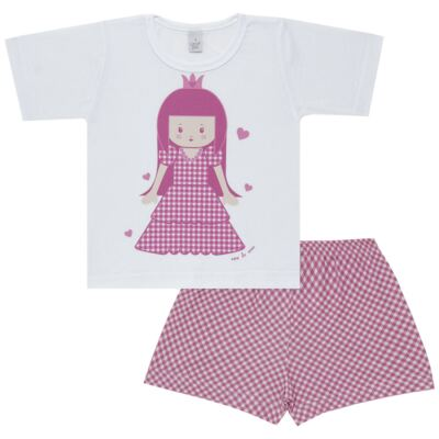Imagem 1 do produto Pijama curto com Shorts em malha Princesinha - Cara de Sono - U1997 PRINCESINHA U PIJAMA-CURTO M/MALHA -3
