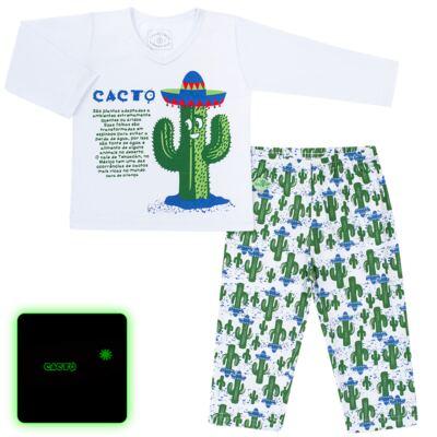 Imagem 1 do produto Pijama longo que Brilha no escuro Cacto - Cara de Criança - L2371 CACTUS L PJ-LONGO M/MALHA-6