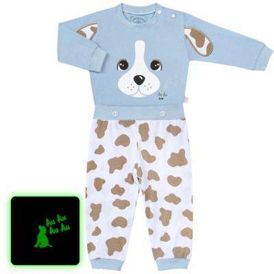 Imagem 1 do produto Pijama 4 botões que Brilha no Escuro Blue Dog - Cara de Criança - 4L2218 PET MENINO 4L PJ  BOTOES -LONGO M/MALHA-P