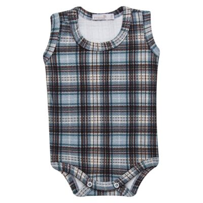 Imagem 2 do produto Body regata c/ Cobre Fralda para bebe em algodão egípcio Windsor - Roana - 02132024370 Body c/ Cueca Xadrez Azul -RN