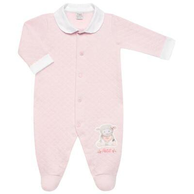 Imagem 2 do produto Jogo Maternidade com Macacão e Manta em viscomfort Ovelhinha Rosa - Petit - 47084344 JG. MAT. MACAC ML C/ GOLA MATELASSE OVELHA FEM -P