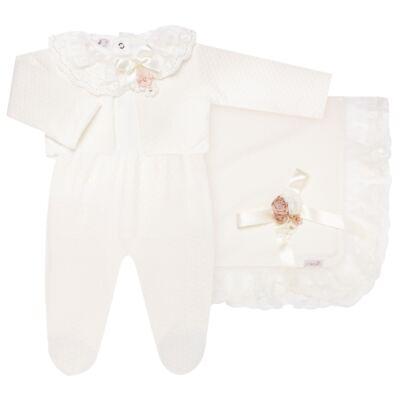 Imagem 1 do produto Saída Maternidade para bebe Chambly: Bolero + Body longo + Mijão + Manta - Roana - 19242052542 SAIDA MATERNIDADE LUXO MARFIM/ROSA SECO-RN