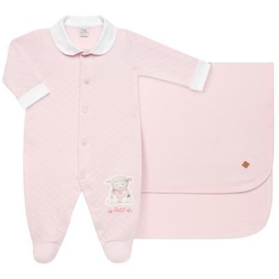 Imagem 1 do produto Jogo Maternidade com Macacão e Manta em viscomfort Ovelhinha Rosa - Petit - 47084344 JG. MAT. MACAC ML C/ GOLA MATELASSE OVELHA FEM -RN