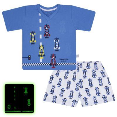 Imagem 1 do produto Pijama curto que Brilha no Escuro Fórmula 1 - Cara de Criança - U2888 FORMULA 1 U PIJAMA CURTO M/MALHA-2