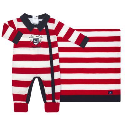 Imagem 1 do produto Jogo Maternidade para bebe com Macacão + Body longo + Manta em tricot  Náutico - Mini Sailor - 47204443 Jogo Maternidade S Longo c/ Body Tricot Vermelho -0-3
