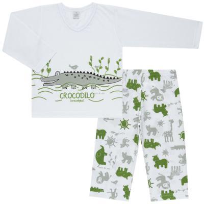 Imagem 1 do produto Pijama longo em malha Croc - Cara de Sono - L1988 CROCODILO L PJ-LONGO M/MALHA-3