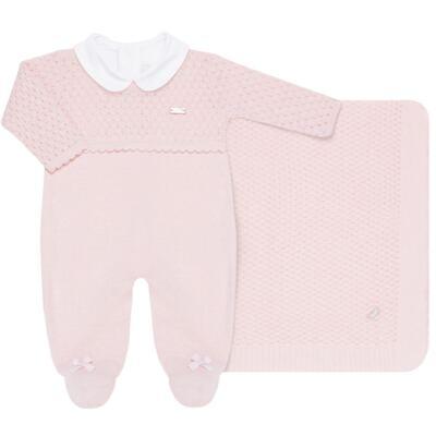 Imagem 1 do produto Jogo Maternidade com Macacão Body e Manta em tricot Rose - Petit - 47004421 Jogo Maternidade c/ Body Regata Tricot/Cot/Fu Rosa -RN