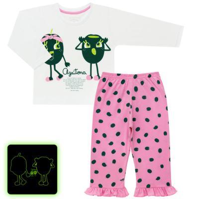 Imagem 1 do produto Pijama longo que Brilha no Escuro Azeitoninha - Cara de Criança - L1638 AZEITONA L PJ-LONGO M/MALHA-2