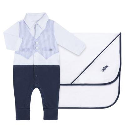 Imagem 1 do produto Jogo Maternidade com Macacão e Manta em algodão egípcio Harold - Bibe - 39Z39-01 CJ MATERNIDADE MASC-P