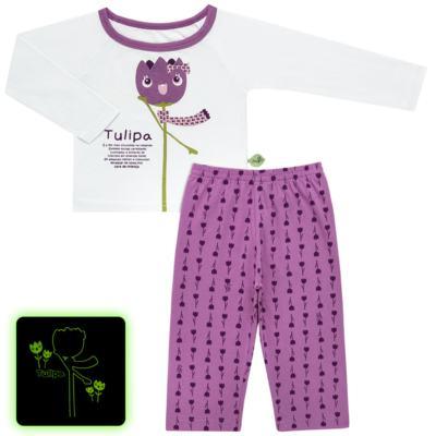 Imagem 1 do produto Pijama longo que Brilha no Escuro Tulipinha - Cara de Criança - L1687 TULIPA L PJ-LONGO CANELADO -1