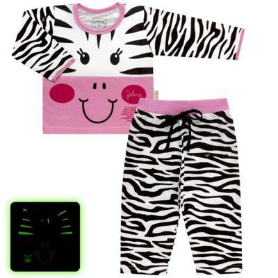 Imagem 1 do produto Pijama longo que Brilha no Escuro Zebrinha - Cara de Criança - L1646 ZEBRA L PJ-LONGO M/MALHA -2