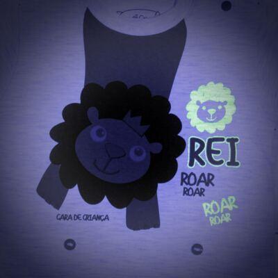 Imagem 4 do produto Pijama 4 botões que Brilha no Escuro Lion - Cara de Criança - 4L1943 REI LEAO 4L PJ 4 BOTOES - LONGO M/MALHA-M