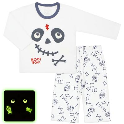 Imagem 1 do produto Pijama longo que brilha no escuro em soft Caveirinha - Cara de Criança - S1659 CAVEIRA BOO S PIJAMA-SOFT SOFT-2
