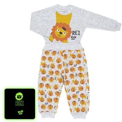 Imagem 1 do produto Pijama 4 botões que Brilha no Escuro Lion - Cara de Criança - 4L1943 REI LEAO 4L PJ 4 BOTOES - LONGO M/MALHA-GG