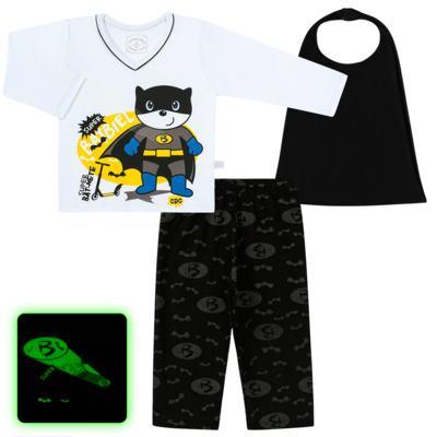 Imagem 1 do produto Pijama que Brilha no escuro BatBiel - Cara de Criança - L2378 BATBIEL L PJ-LONGO M/MALHA -4