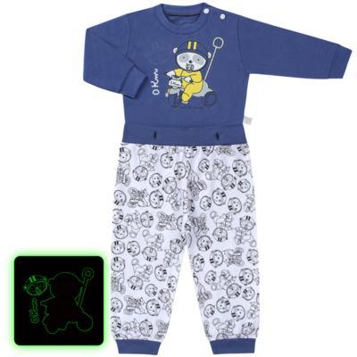 Imagem 1 do produto Pijama 4 botões que Brilha no Escuro Biel Bike - Cara de Criança - 4L2338 BIEL BIKE 4L PJ 4 BOTOES-LONGO M/MALHA-P