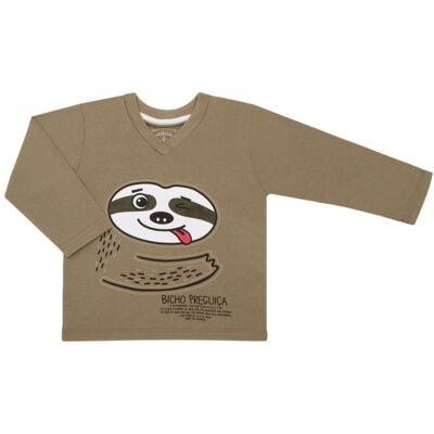Imagem 2 do produto Pijama que Brilha no Escuro Bicho Preguiça  - Cara de Criança - L1746 BICHO PREGUICA L PJ-LONGO M/MALHA-2