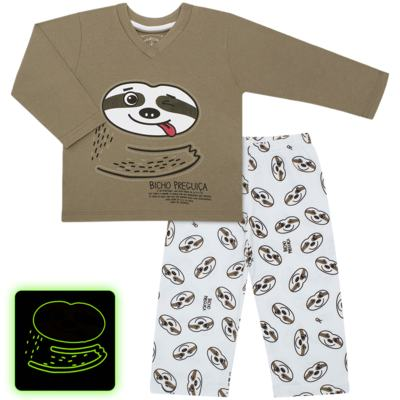 Imagem 1 do produto Pijama que Brilha no Escuro Bicho Preguiça  - Cara de Criança - L1746 BICHO PREGUICA L PJ-LONGO M/MALHA-3
