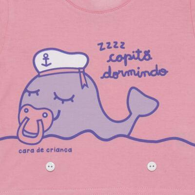 Imagem 3 do produto Pijama 4 botões que Brilha no Escuro Miss Captain  - Cara de Criança - 4L1942 BALEINHA 4L PJ 4 BOTOES-LONGO M/MALHA -GG