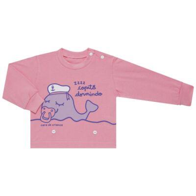 Imagem 2 do produto Pijama 4 botões que Brilha no Escuro Miss Captain  - Cara de Criança - 4L1942 BALEINHA 4L PJ 4 BOTOES-LONGO M/MALHA -P
