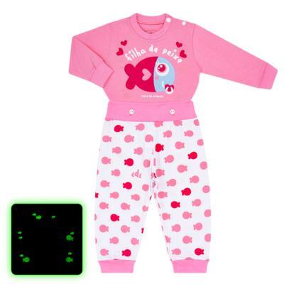 Imagem 1 do produto Pijama 4 botões que Brilha no Escuro Filha de Peixe - Cara de Criança - 4L2703 FILHA DE PEIXE 4L PJ 4 BOTOES LONGO M/MALHA-GG