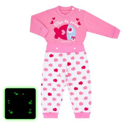 Imagem 1 do produto Pijama 4 botões que Brilha no Escuro Filha de Peixe - Cara de Criança - 4L2703 FILHA DE PEIXE 4L PJ 4 BOTOES LONGO M/MALHA-P