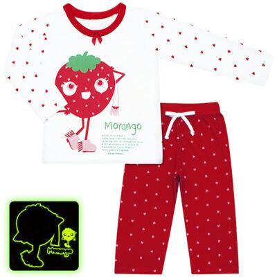 Imagem 1 do produto Pijama longo que Brilha no Escuro Moranguinho - Cara de Criança - L1635 MORANGO L PJ-LONGO M/MALHA-4