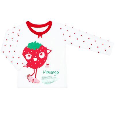 Imagem 2 do produto Pijama longo que Brilha no Escuro Moranguinho - Cara de Criança - L1635 MORANGO L PJ-LONGO M/MALHA-1