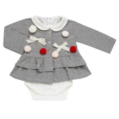 Imagem 2 do produto Conjunto para bebê Pom Pom : Casaquinho + Body longo + Calça - Roana - 26032015018 CONJUNTO LEGGING CASACO POM POM CINZA-M