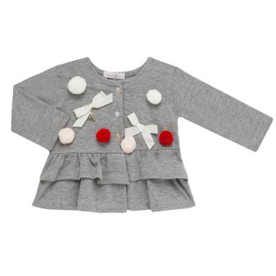 Imagem 3 do produto Conjunto para bebê Pom Pom : Casaquinho + Body longo + Calça - Roana - 26032015018 CONJUNTO LEGGING CASACO POM POM CINZA-M