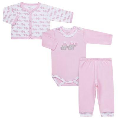 Imagem 1 do produto Conjunto Pagão Elefantinha: Casaquinho + Body longo + Calça - Tilly Baby - TB170221.02 KIT BODY CALCA E CASACO ELEFANTINHOS ROSA BEBE-G