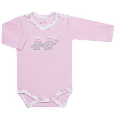 Imagem 4 do produto Conjunto Pagão Elefantinha: Casaquinho + Body longo + Calça - Tilly Baby - TB170221.02 KIT BODY CALCA E CASACO ELEFANTINHOS ROSA BEBE-G