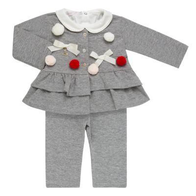 Imagem 1 do produto Conjunto para bebê Pom Pom : Casaquinho + Body longo + Calça - Roana - 26032015018 CONJUNTO LEGGING CASACO POM POM CINZA-P