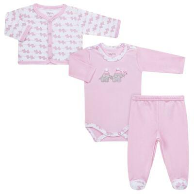 Imagem 1 do produto Conjunto Pagão Elefantinha: Casaquinho + Body longo + Calça - Tilly Baby - TB170221.02 KIT BODY CALCA E CASACO ELEFANTINHOS ROSA BEBE-P
