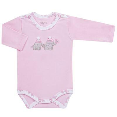 Imagem 4 do produto Conjunto Pagão Elefantinha: Casaquinho + Body longo + Calça - Tilly Baby - TB170221.02 KIT BODY CALCA E CASACO ELEFANTINHOS ROSA BEBE-P