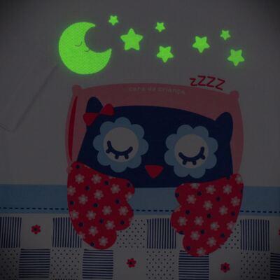 Imagem 4 do produto Pijama longo que Brilha no escuro Coruja - Cara de Criança - L2394 CORUJA L PJ-LONGO M/MALHA-4