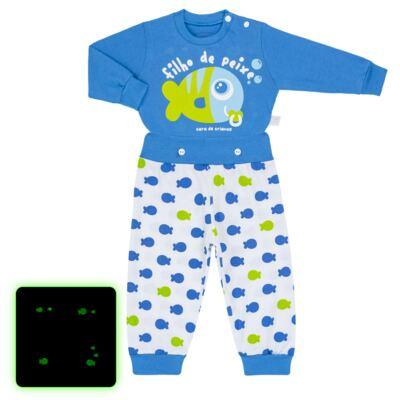 Imagem 1 do produto Pijama 4 botões que Brilha no Escuro Filho de Peixe - Cara de Criança - 4L2704 FILHO DE PEIXE 4L PJ 4 BOTOES LONGO M/MALHA-M