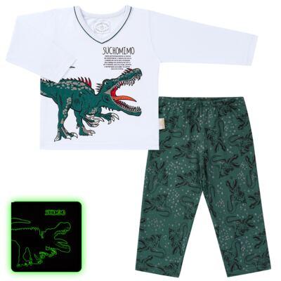 Imagem 1 do produto Pijama longo que Brilha no escuro Dinossauro - Cara de Criança - L2356 DINOSSAURO L PJ-LONGO M/MALHA-6