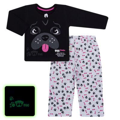 Imagem 1 do produto Pijama longo para bebe que Brilha no Escuro Black Pug - Cara de Criança - L2341 PUG FEM L PJ-LONGO M/MALHA -6