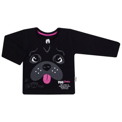 Imagem 2 do produto Pijama longo para bebe que Brilha no Escuro Black Pug - Cara de Criança - L2341 PUG FEM L PJ-LONGO M/MALHA -2