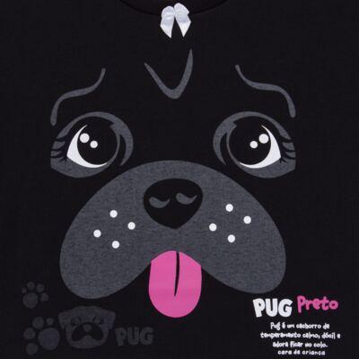 Imagem 4 do produto Pijama longo para bebe que Brilha no Escuro Black Pug - Cara de Criança - L2341 PUG FEM L PJ-LONGO M/MALHA -3