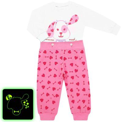 Imagem 1 do produto Pijama 4 botões que Brilha no Escuro Cachorrinha - Cara de Criança - 4L1671-CACHORRINHA 4L PJ 4 BOTOES-LONGO M/MALHA-P