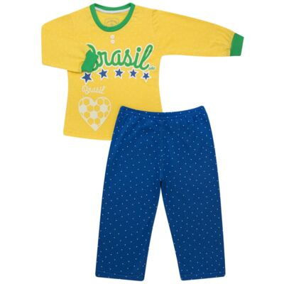 Imagem 1 do produto Pijama longo que Brilha no Escuro Brasil - Cara de Criança - L1112 Pijama longo que Brilha no Escuro Brasil-1