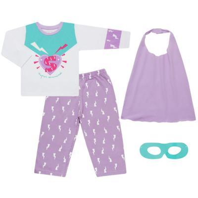 Imagem 1 do produto Pijama longo que Brilha no Escuro Super Menina - Cara de Criança - L1021 Pijama longo que Brilha no Escuro Super Menina-3