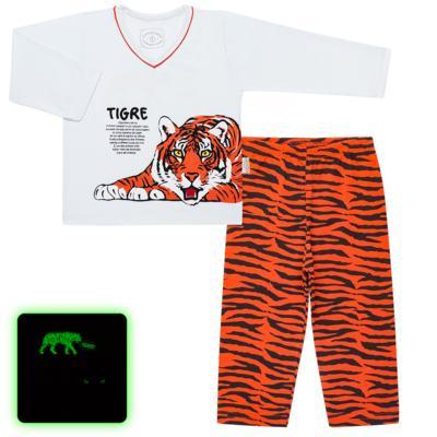 Imagem 1 do produto Pijama longo que Brilha no escuro Tigre - Cara de Criança - L2357 TIGRE L PJ-LONGO M/MALHA -3