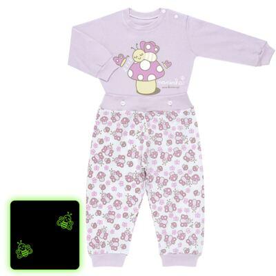 Imagem 1 do produto Pijama 4 botões que Brilha no Escuro Butterfly - Cara de Criança - 4L1947 COGUMELO 4L PJ 4 BOTOES - LONGO M/MALHA -GG