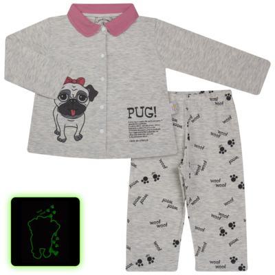 Imagem 1 do produto Pijama que Brilha no Escuro Pug - Cara de Criança - L0553 PIJAMA QUE BRILHA NO ESCURO PUG-3